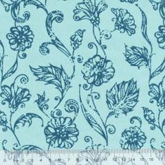 Tecido Tricoline Mista Floral Marbella - Azul - 90% Algodão 10% Poliéster - Largura 1,50m