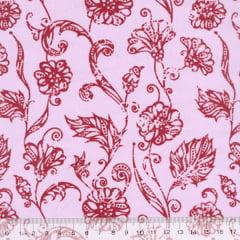 Tecido Tricoline Mista Floral Marbella - Vermelho - 90% Algodão 10% Poliéster - Largura 1,50m