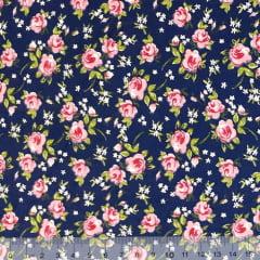 Tecido Tricoline Mista Floral Rosa Delicada - Fundo Azul Marinho - 90% Algodão 10% Poliéster - Largura 1,50m