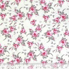 Tecido Tricoline Mista Floral Rosa Delicada - Fundo Bege - 90% Algodão 10% Poliéster - Largura 1,50m