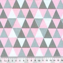 Tecido Tricoline Mista Geométricos - Rosa Claro - 90% Algodão 10% Poliéster - Largura 1,50m