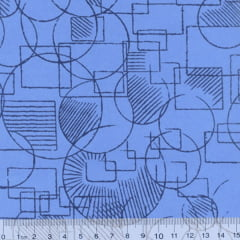 Tecido Tricoline Mista Mandy Formas - Azul - 90% Algodão 10% Poliéster - Largura 1,50m