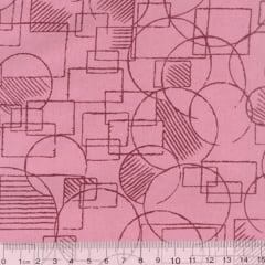 Tecido Tricoline Mista Mandy Formas - Goiaba - 90% Algodão 10% Poliéster - Largura 1,50m
