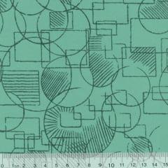 Tecido Tricoline Mista Mandy Formas - Turquesa - 90% Algodão 10% Poliéster - Largura 1,50m