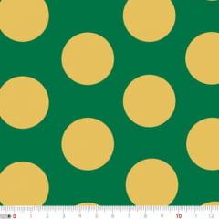 Tecido Tricoline Mista Natal Bolas Douradas - Fundo Verde - 90% Algodão 10% Poliéster - Largura 1,50m