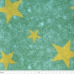 Tecido Tricoline Mista Natal - Estrelas Douradas - Fundo Verde - 90% Algodão 10% Poliéster - Largura 1,50m