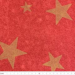 Tecido Tricoline Mista Natal - Estrelas Douradas - Fundo Vermelho - 90% Algodão 10% Poliéster - Largura 1,50m