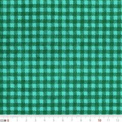 Tecido Tricoline Mista Natal Xadrez - Verde - 90% Algodão 10% Poliéster - Largura 1,50m