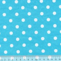 Tecido Tricoline Mista Poá G - Fundo Azul c/ Branco - 90% Algodão 10% Poliéster - Largura 1,50m