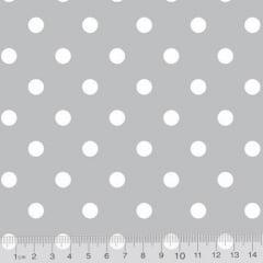 Tecido Tricoline Mista Poá G - Fundo Cinza c/ Branco - 90% Algodão 10% Poliéster - Largura 1,50m