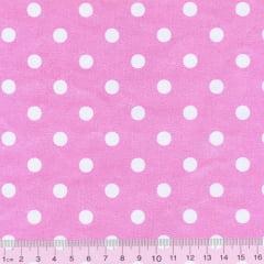 Tecido Tricoline Mista Poá G - Fundo Rosa c/ Branco - 90% Algodão 10% Poliéster - Largura 1,50m
