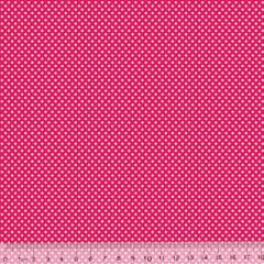 Tecido Tricoline Mista Poá PP - Fundo Rosa Pink c/ Branco - 90% Algodão 10% Poliéster - Largura 1,50m