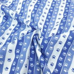 Tecido Tricoline Mista Pooly - Patinhas Barras - Azul - 80% poliéster 20% algodão - Largura 1,40m