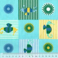 Tecido Tricoline Mista Pooly - Cavalo Marinho - Azul (80% poliéster / 20% algodão) (Largura: 1,40m)