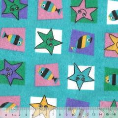 Tecido Tricoline Mista Pooly - Estrela e Peixe - Azul (80% poliéster / 20% algodão) (Largura: 1,40m)