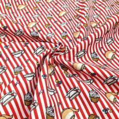 Tecido Tricoline Mista Pooly - Hora do Café - Vermelho - 80% poliéster 20% algodão - Largura 1,40m