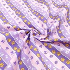 Tecido Tricoline Mista Pooly - Patinhas Barras - Lilás - 80% poliéster 20% algodão - Largura 1,40m