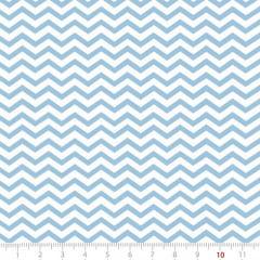 Tecido Tricoline Mista Pop Textoleen Chevron Nice - Azul Claro - 50% Algodão 50% Poliéster - Largura 1,38m
