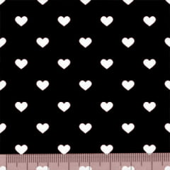 Tecido Tricoline Mista Pop Textoleen Corações Fundo Preto - 50% Algodão 50% Poliéster - Largura 1,38m
