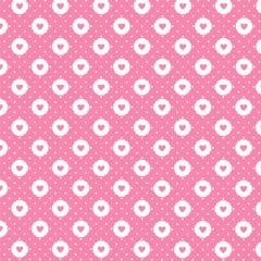 Tecido Tricoline Mista Pop Textoleen Corações Sticker - Rosa - 50% Algodão 50% Poliéster - Largura 1,38m