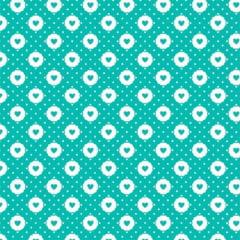 Tecido Tricoline Mista Pop Textoleen Corações Sticker - Turquesa - 50% Algodão 50% Poliéster - Largura 1,38m