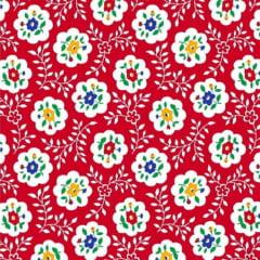 Tecido Tricoline Mista Pop Textoleen Floral Bloom - Vermelho - 50% Algodão 50% Poliéster - Largura 1,38m