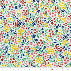 Tecido Tricoline Mista Pop Textoleen Floral Liberty Luna - Azul - 50% Algodão 50% Poliéster - Largura 1,38m
