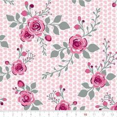 Tecido Tricoline Mista Pop Textoleen Floral Little Heart - Rosa - 50% Algodão 50% Poliéster - Largura 1,38m