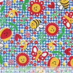 Tecido Tricoline Mista Pop Textoleen Jardim Alegria - Fundo Xadrez Azul Royal - 50% Algodão 50% Poliéster - Largura 1,38m