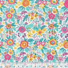 Tecido Tricoline Mista Pop Textoleen Jardim Samba - Rosa - 50% Algodão 50% Poliéster - Largura 1,38m