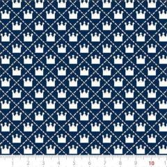 Tecido Tricoline Mista Pop Textoleen Mini Coroas - Azul Marinho - 50% Algodão 50% Poliéster - Largura 1,38m
