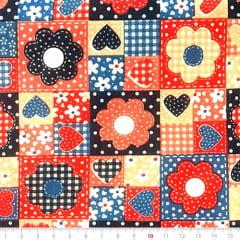 Tecido Tricoline Mista Pop Textoleen Patch Flores e Corações - Vermelho - 50% Algodão 50% Poliéster - Largura 1,38m