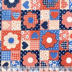 Tecido Tricoline Mista Pop Textoleen Patch Flores e Corações - Vermelho e Azul Marinho - 50% Algodão 50% Poliéster - Largura 1,38m