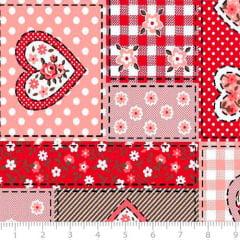 Tecido Tricoline Mista Pop Textoleen Patch Temas - Vermelho - 50% Algodão 50% Poliéster - Largura 1,38m