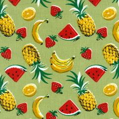 Tecido Tricoline Mista Salada de Frutas - Fundo Bege - 90% Algodão 10% Poliéster - Largura 1,50m