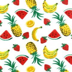 Tecido Tricoline Mista Salada de Frutas - Fundo Branco - 90% Algodão 10% Poliéster - Largura 1,50m
