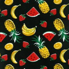 Tecido Tricoline Mista Salada de Frutas - Fundo Preto - 90% Algodão 10% Poliéster - Largura 1,50m