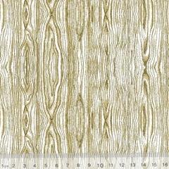 Tecido Tricoline Mista Textura Madeira Rústica - Natural - 90% Algodão 10% Poliéster - Largura 1,50m