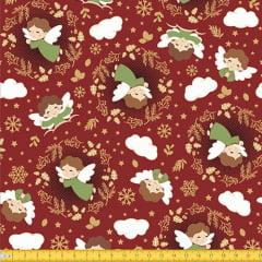 Tecido Tricoline Natal Anjinhos - Vermelho - 100% Algodão - Largura 1,50m