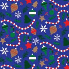 Tecido Tricoline Natal Design - Enfeites - Azul Royal - 100% Algodão - Largura: 1,50m