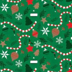 Tecido Tricoline Natal Design - Enfeites - Verde - 100% Algodão - Largura: 1,50m