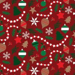 Tecido Tricoline Natal Design - Enfeites - Vermelho - 100% Algodão - Largura: 1,50m