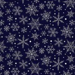 Tecido Tricoline Natal Design - Nevada - Azul Marinho - 100% Algodão - Largura: 1,50m