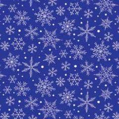 Tecido Tricoline Natal Design - Nevada - Azul Royal - 100% Algodão - Largura: 1,50m