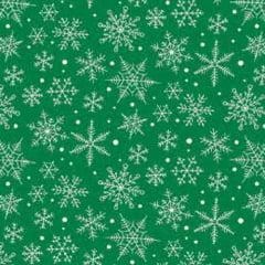 Tecido Tricoline Natal Design - Nevada - Verde - 100% Algodão - Largura: 1,50m