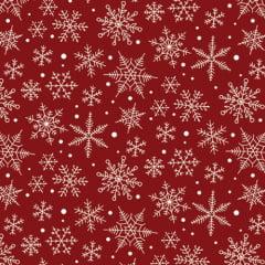 Tecido Tricoline Natal Design - Nevada - Vermelho - 100% Algodão - Largura: 1,50m