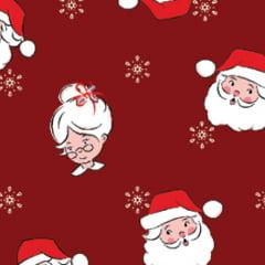 Tecido Tricoline Natal Design - Papai e Mamãe Noel - Vermelho - 100% Algodão - Largura: 1,50m
