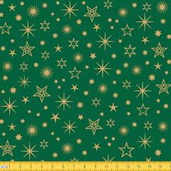 Tecido Tricoline Natal Estrelas Brilhantes - Verde - 100% Algodão - Largura: 1,50m