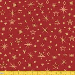 Tecido Tricoline Natal Estrelas Brilhantes - Vermelho - 100% Algodão - Largura: 1,50m