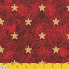 Tecido Tricoline Natal Estrelinhas - Vermelho - 100% Algodão - Largura 1,50m